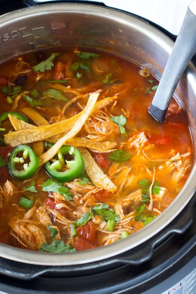 Chicken tortillas soup in instant pot