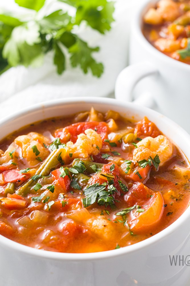 vegetable soup in mug