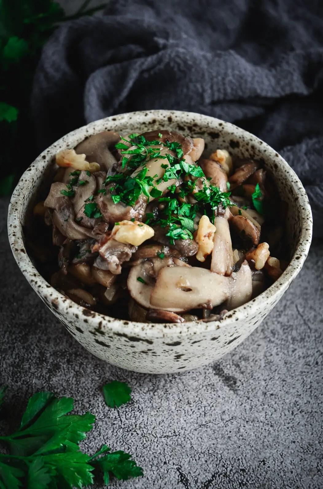 Sautéed mushrooms in bowl
