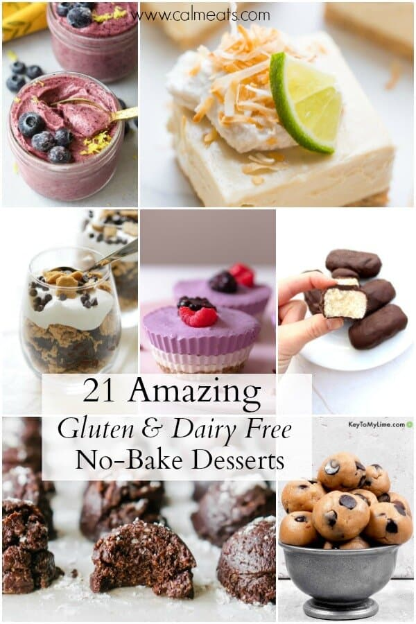 If you love easy desserts that don't require baking, check out this amazing list of 21 gluten, dairy free and vegan no-bake desserts. #vegandesserts #dairyfreedesserts #nobake #nobakedesserts #vegannobakedesserts #vegan #paleodesserts #veganpaleo #grainfree #vegetarian #dairyfreenobake #glutenfreenobake #vegansweets #desserts