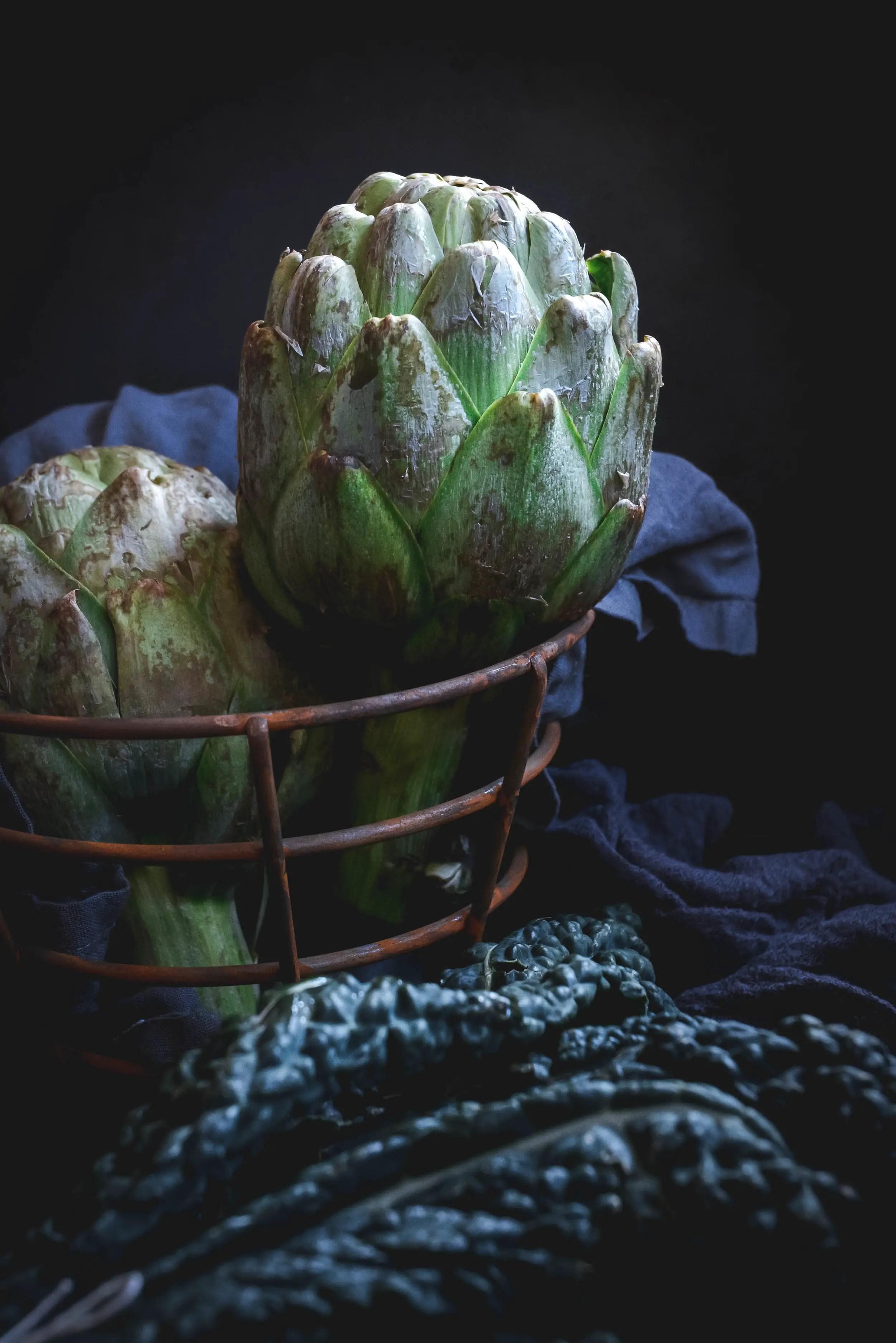 artichokes in basket