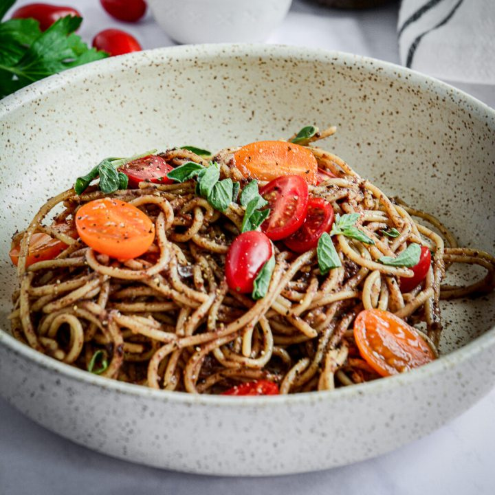 Spaghetti with Olive Tapenade, Tomatoes, and Herbs