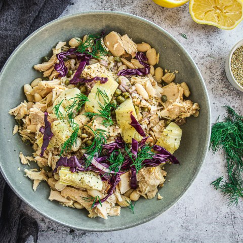 White Bean Tuna Salad with Artichoke Hearts