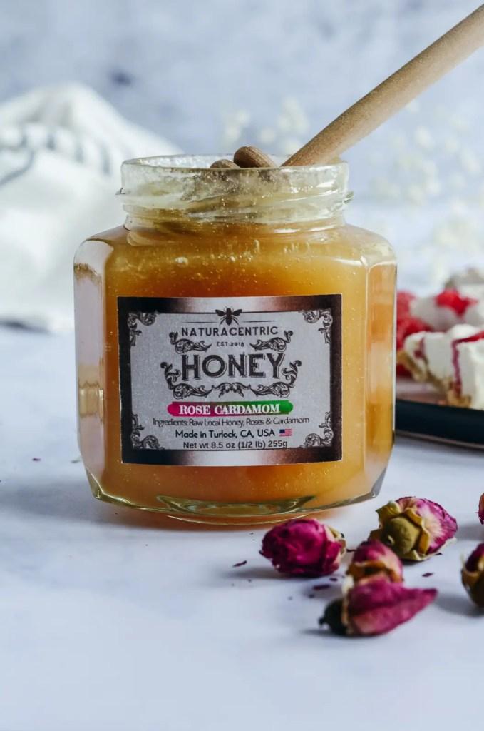 Jar of rose cardamom honey