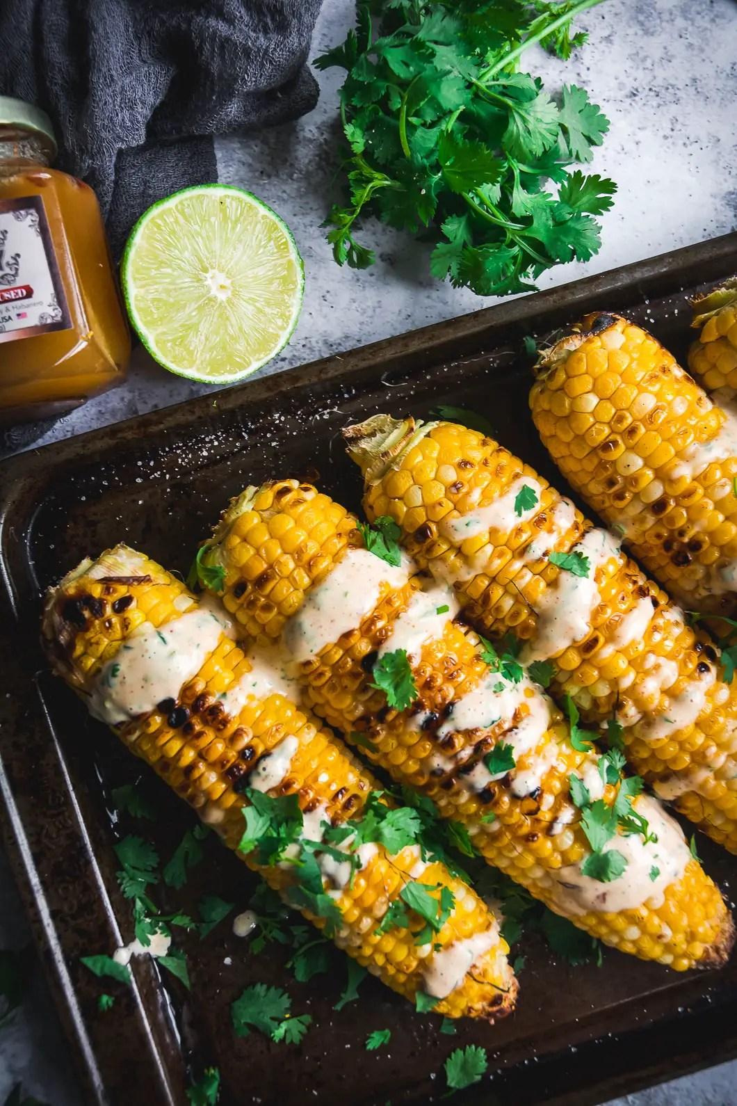 Grilled Corn with Spicy Habanero Honey Mayo