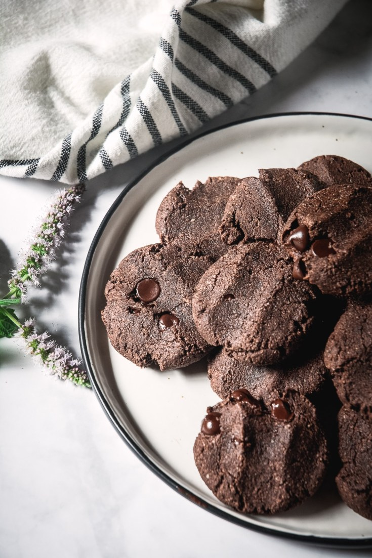 Flourless Double Chocolate Chip Cookies