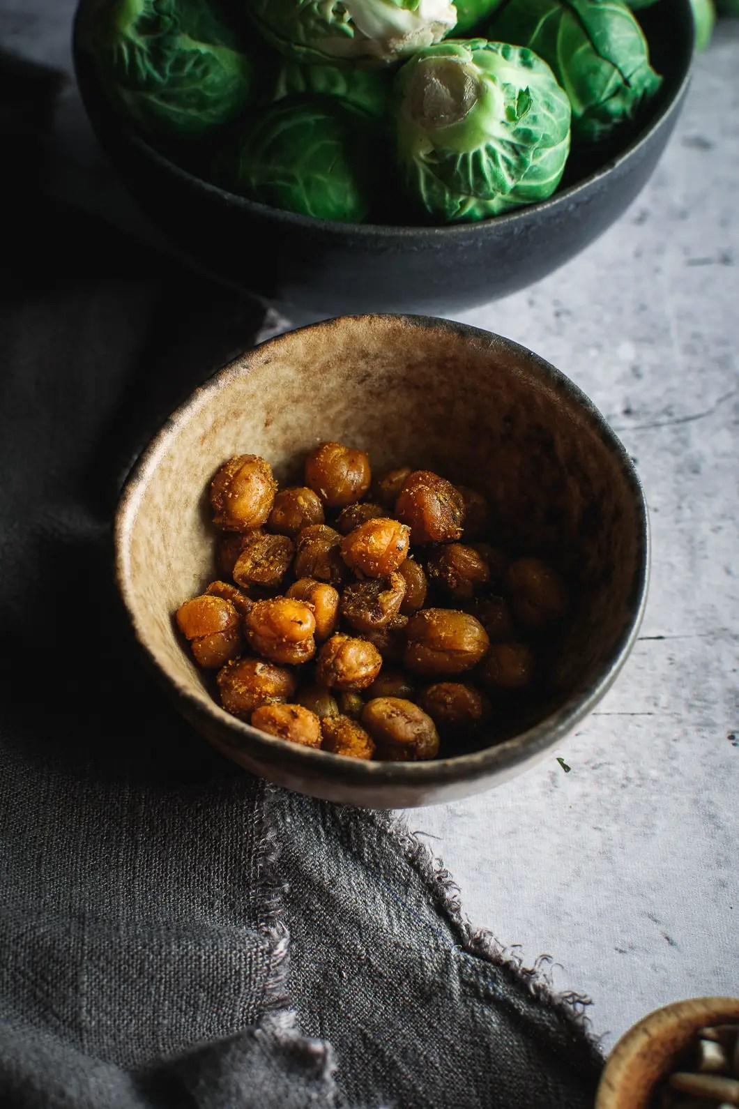 Crispy roasted chickpeas in little bowl