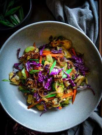 cooked shaved brussels sprouts with carrots and purple cabbage and scallions on grey plate