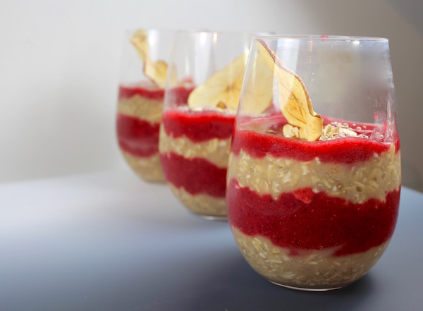 Image showing food presentation of three oatmeal and strawberry breakfasts from CALMERme.com