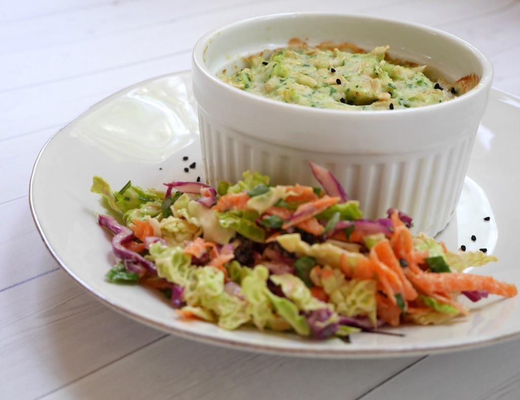 Image showing baked fish in ramekin with rainbow coleslaw from blog at CALMERme.com