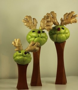 Chayotes made to look like reindeer to add a touch of whimsy to the table