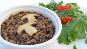 Image shows dish of fat free country mushroom pate, make-ahead appetizer, as described in this recipe on CALMERme.com