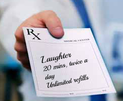 Image of prescription pad, prescribing laughter twice a day from CALMERme.com