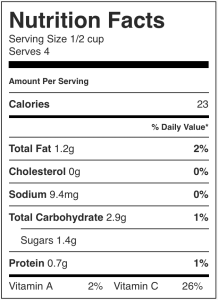 Image shows the nNutrition label for limey coleslaw, as described in this recipe on CALMERme.com