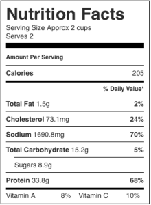 Image shows nutrition label for this recipe for fiesta fish dinner, as described on CALMERme.com