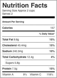 Image shows nutrition label for this recipe for cabbage salad using shrimp as the protein, as described on CALMERme.com