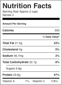 Image shows nutrition label for this recipe for cabbage salad using tempeh as the protein, as described on CALMERme.com