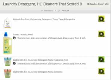 This screen shot shows a list of laundry items rated B by the ewg.org, as described in this post on CALMERme.com