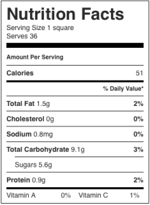 The image shows the nutrition label for cherry walnut squares, as described in this recipe on CALMERme.com