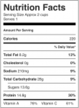 Image shows nutrition label for a green smoothie recipe as described on CALMERme.com