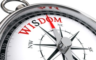 Image depicting the word wisdom on a compass relating to the WISDOM breast cancer screening trial in CALMERme.com blog