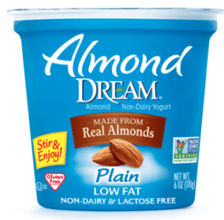 Image shows carton of Almond Dream plain yogurt, as described in this post on CALMERme.com