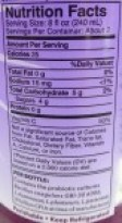 Image shows the label from a bottle of probiotic beverage, as described in this post about kombucha on CALMERme.com