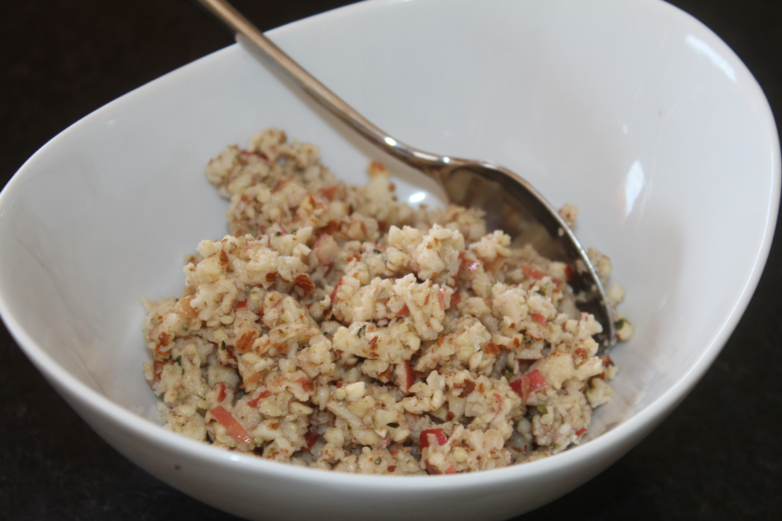 An aha moment - dish of apples, hemp seeds and almonds from CALMERme.com