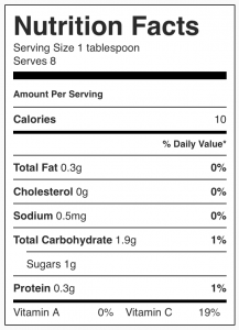 Image showing nutritional facts for no sugar added strawberry jam from CALMERme.com