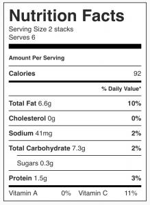 Nutrition facts for purple potato stacks from CALMERme.com