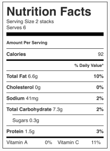 Nutrition facts for purple potato stacks from CALMERme.com