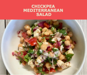 Recipe for chickpea Mediterranean salad from CALMERme.com