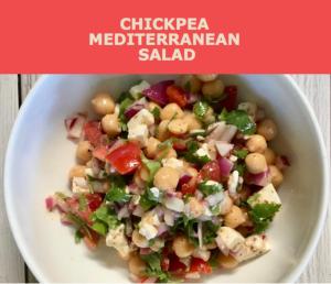 Recipe for chickpea Mediterranean salad from CALMERme.com
