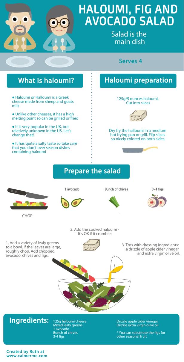 Haloumi fig avocado salad blog header from CALMERme.com