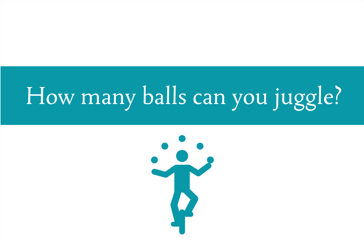 Blogheader about juggling too much in life from CALMERme.com