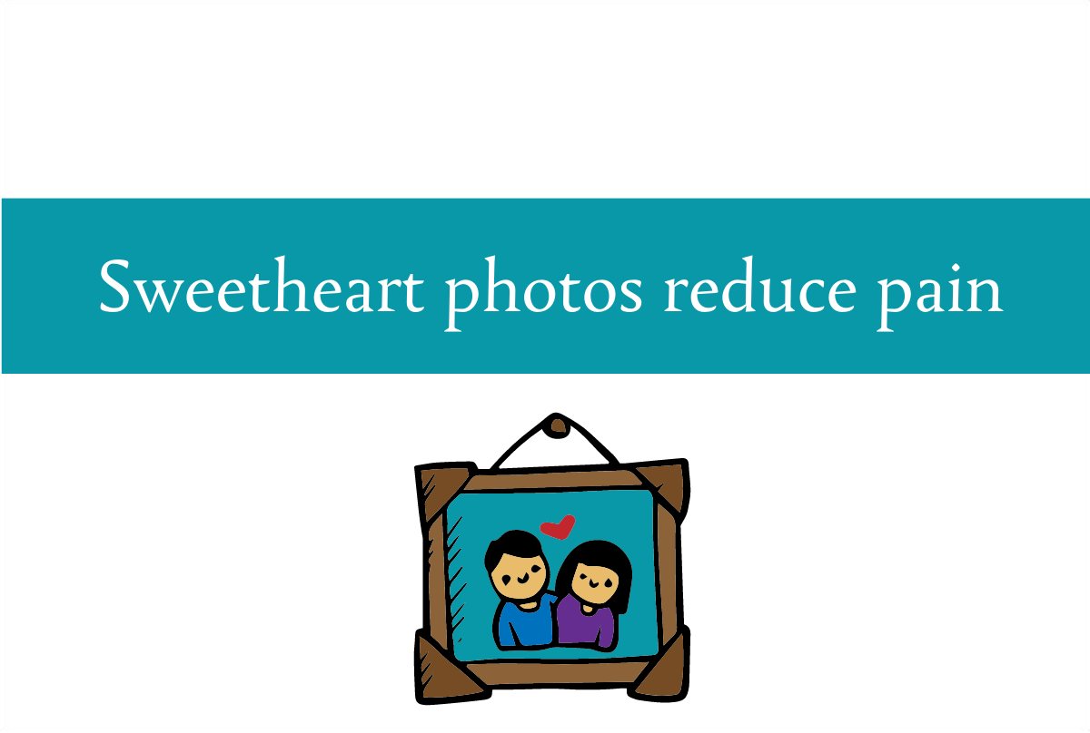 Blogheader for infographic on how sweetheart photos can reduce pain from CALMERme.com
