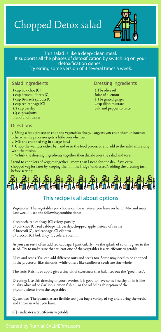 Infographic recipe for chopped detox salad to clean your body from CALMERme.com