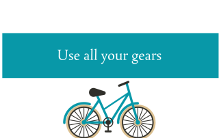 Blogheader about using all your gears in life, not just cycling by CALMERme.com