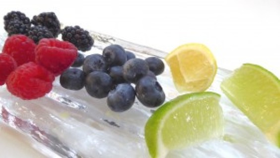 Image shows the fruit ingredients in the creamy frozen bites as described in this recipe on CALMERme.com