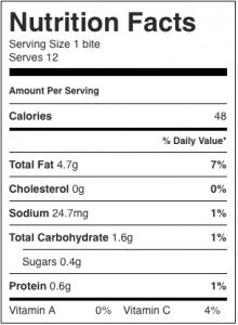 Image shows the nutrition label for a low calorie frozen creamy bite made with lemon juice, as described in this recipe on CALMERme.com