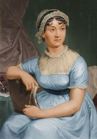 Idealised image (reversed) of Jane Austen