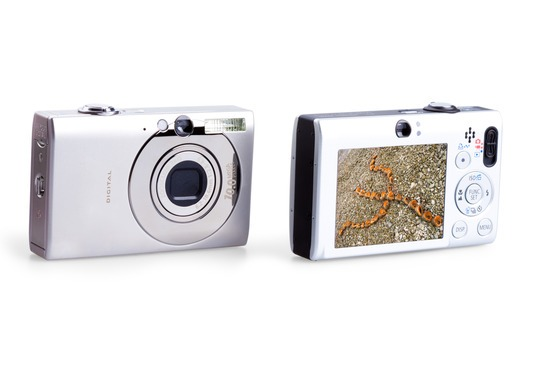 photo camera isolated on white