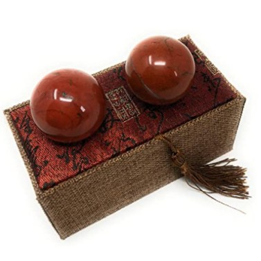 Asian Home Red Corundum Marble Stone Chinese Healthy Exercise Massage Baoding Balls