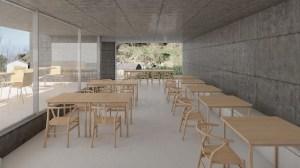 Sala de refeições no edifício da recepção