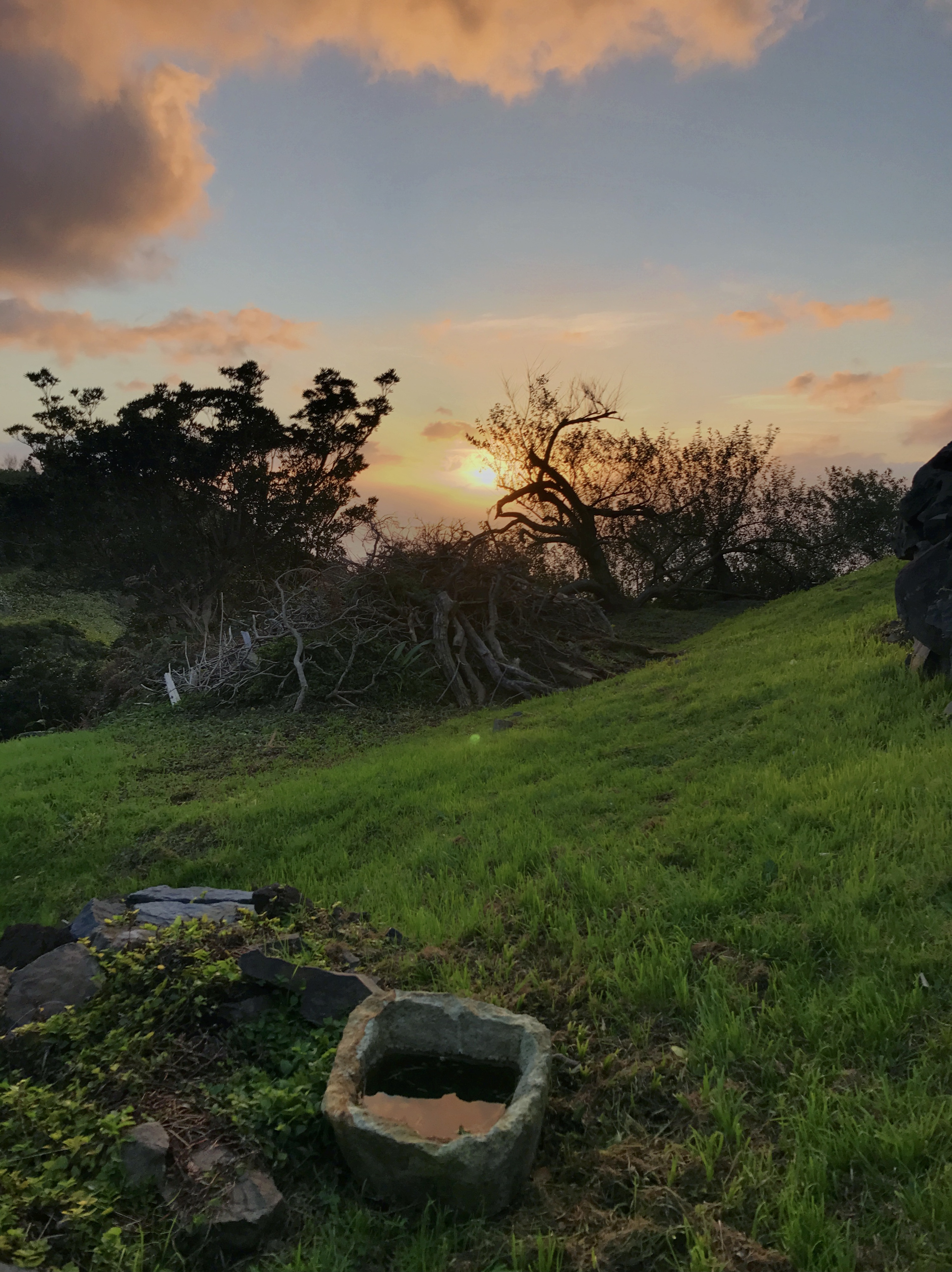Stone trough of Casa da Ganhoa at sunset
