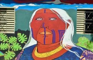 Mural con imagen de chamán
