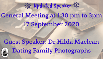 Dating Family Photos & General Meeting via Zoom
