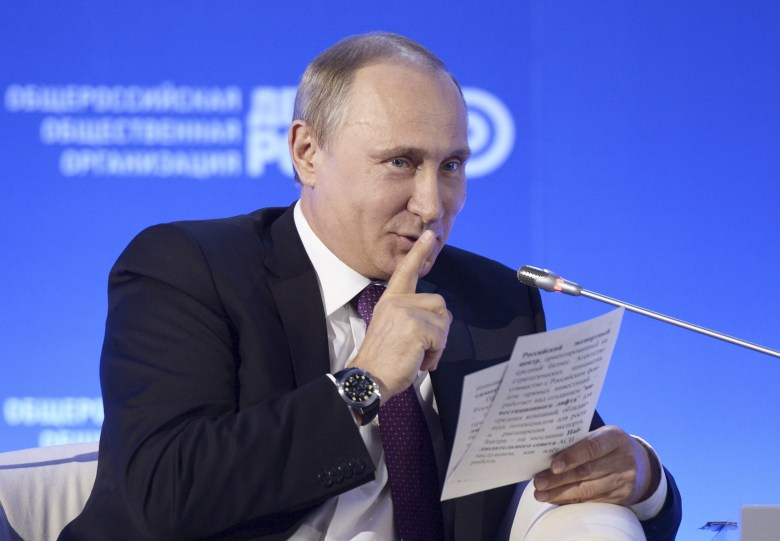 Russian President Vladimir Putin gestures during the Business Russia forum in Moscow