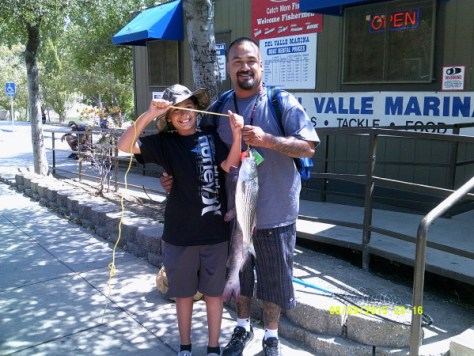 Jesse and Gabriel Lujan caught a nice catfish and striper at Lake Del Valle.