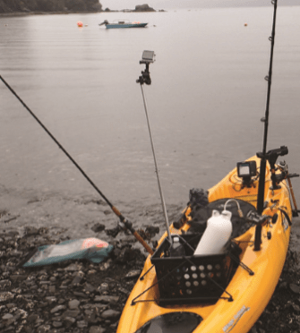 From this perspective, almost everything else on this kayak the author borrowed on an Alaskan fishing trip is secondary to the 480x480-resolution color fishfinder rigged in front of the angler's seat. (MARK VEARY)